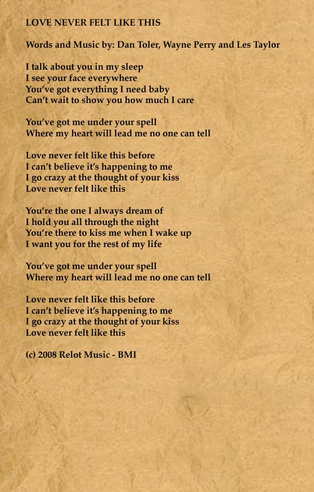 Lyric like this lyrics : TOLER/TOWNSEND - LYRICS